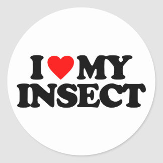 I LOVE MY INSECT ROUND STICKER