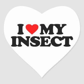 I LOVE MY INSECT HEART STICKER