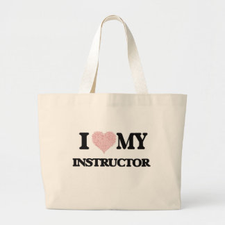 I love my Instructor (Heart Made from Words) Jumbo Tote Bag