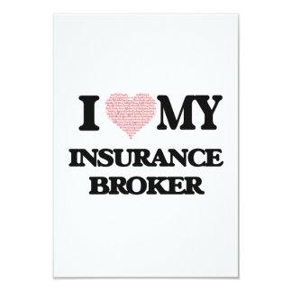I love my Insurance Broker (Heart Made from Words) 9 Cm X 13 Cm Invitation Card