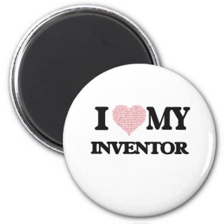 I love my Inventor (Heart Made from Words) 6 Cm Round Magnet