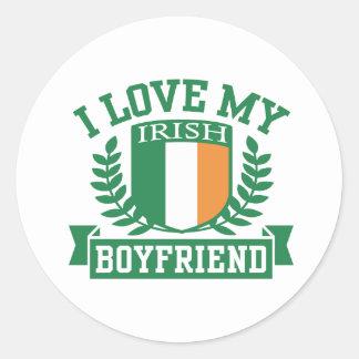 I Love My Irish Boyfriend Classic Round Sticker