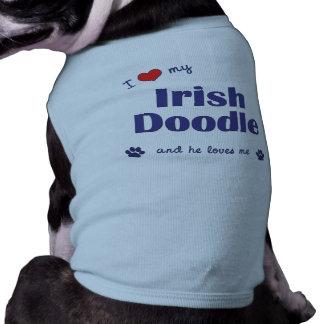 I Love My Irish Doodle (Male Dog) Dog Tee Shirt