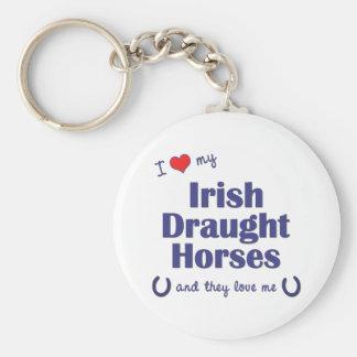 I Love My Irish Draught Horses (Multiple Horses) Basic Round Button Key Ring