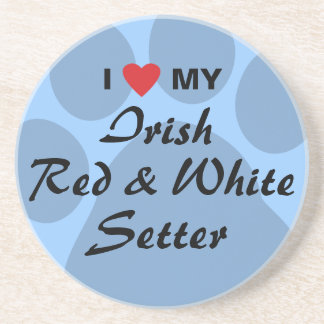 I Love My Irish Red and White Setter Drink Coaster