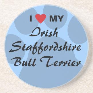 I Love My Irish Staffordshire Bull Terrier Beverage Coasters