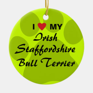 I Love My Irish Staffordshire Bull Terrier Double-Sided Ceramic Round Christmas Ornament
