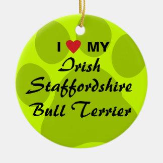 I Love My Irish Staffordshire Bull Terrier Round Ceramic Decoration