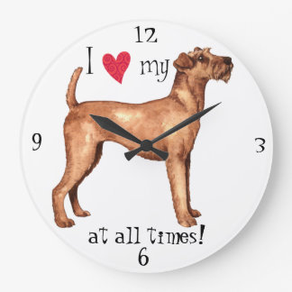 I Love my Irish Terrier Large Clock