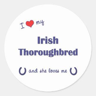 I Love My Irish Thoroughbred (Female Horse) Round Sticker