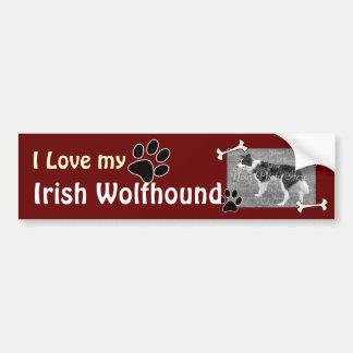 I love my Irish Wolfhound Bumper Sticker Car Bumper Sticker