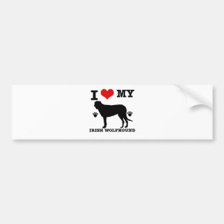 I Love my  irish wolfhound Bumper Sticker