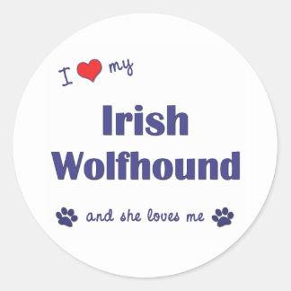 I Love My Irish Wolfhound Female Dog Sticker