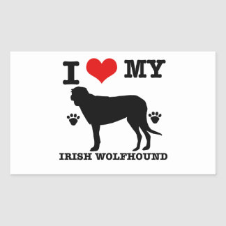 I Love my  irish wolfhound Rectangular Sticker