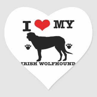 I Love my  irish wolfhound Heart Sticker