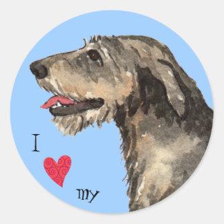 I Love my Irish Wolfhound Classic Round Sticker