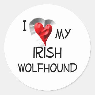I Love My Irish Wolfhound Round Stickers