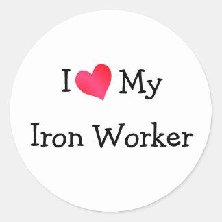 I Love My Iron Worker Classic Round Sticker