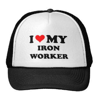 I Love My Iron Worker Trucker Hats