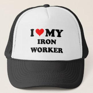 I Love My Iron Worker Trucker Hat