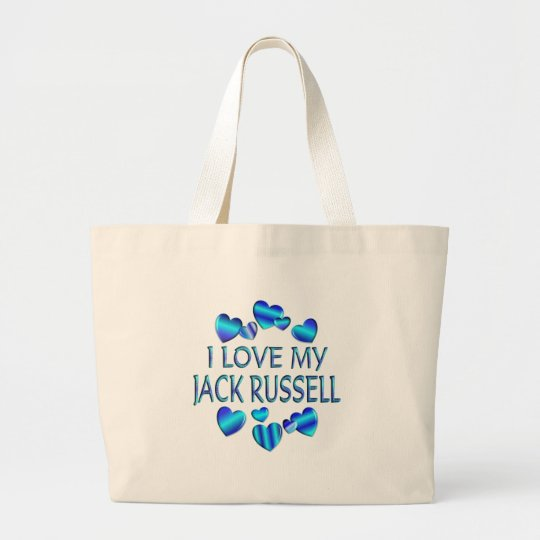 I Love My Jack Russell Large Tote Bag