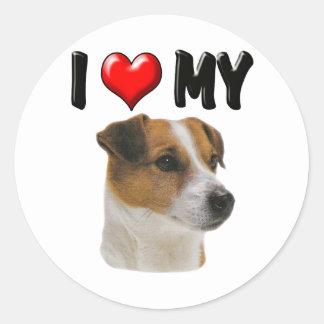 I Love My Jack Russell Round Sticker