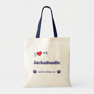I Love My Jackadoodle (Male Dog) Budget Tote Bag