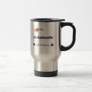 I Love My Jackadoodle (Male Dog) Stainless Steel Travel Mug