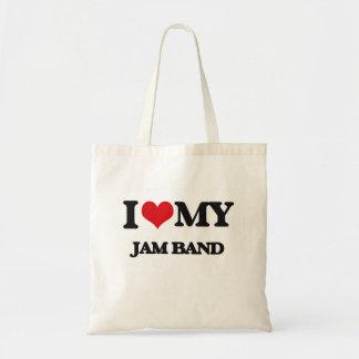 I Love My JAM BAND Tote Bags