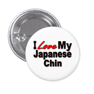 I Love My Japanese Chin Dog Gifts and Apparel 3 Cm Round Badge