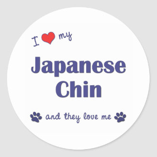 I Love My Japanese Chin (Multiple Dogs) Stickers