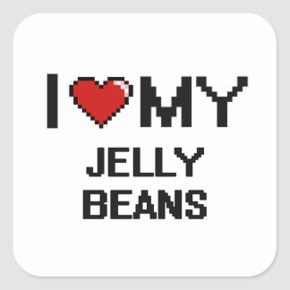 I Love My Jelly Beans Digital design Square Sticker