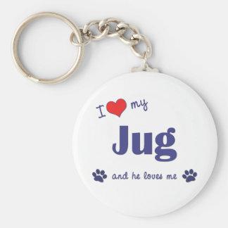 I Love My Jug (Male Dog) Key Ring
