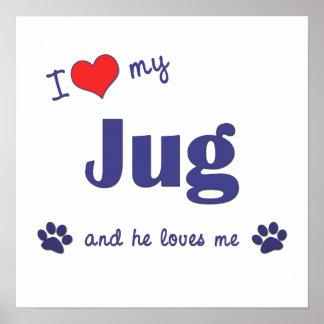 I Love My Jug Male Dog Posters