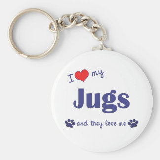 I Love My Jugs (Multiple Dogs) Basic Round Button Key Ring
