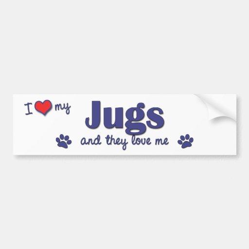I Love My Jugs (Multiple Dogs) Bumper Sticker