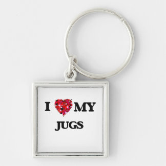 I love my Jugs Silver-Colored Square Key Ring