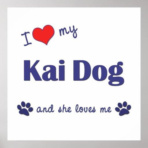I Love My Kai Dog (Female Dog) Poster