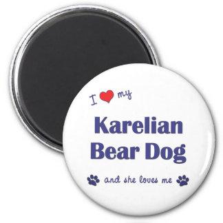 I Love My Karelian Bear Dog (Female Dog) 6 Cm Round Magnet