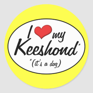 I Love My Keeshond (It's a Dog) Classic Round Sticker