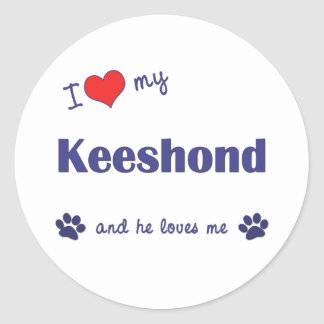 I Love My Keeshond (Male Dog) Classic Round Sticker