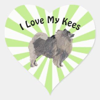 I Love My Keeshond on White Starburst Heart Sticker