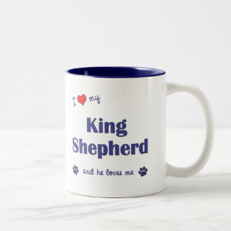 I Love My King Shepherd (Male Dog) Two-Tone Coffee Mug