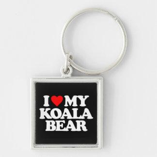 I LOVE MY KOALA BEAR Silver-Colored SQUARE KEY RING
