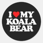I LOVE MY KOALA BEAR ROUND STICKER