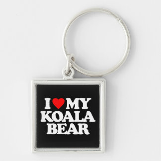 I LOVE MY KOALA BEAR Silver-Colored SQUARE KEY RING