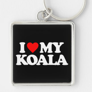 I LOVE MY KOALA Silver-Colored SQUARE KEY RING