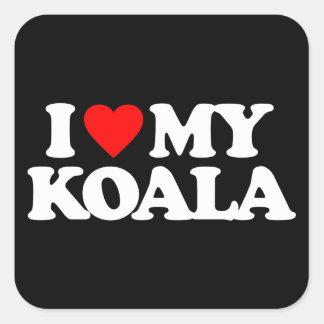 I LOVE MY KOALA SQUARE STICKER