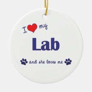 I Love My Lab (Female Dog) Christmas Ornament