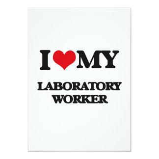 "I love my Laboratory Worker 5"" X 7"" Invitation Card"
